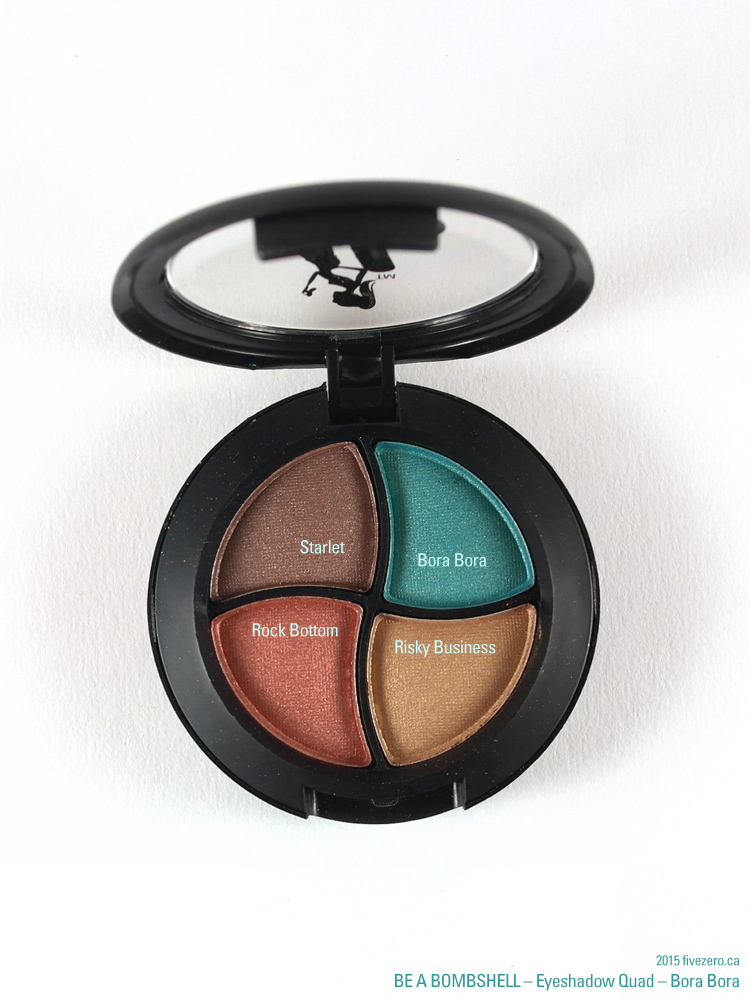 Be a Bombshell Eyeshadow Quad in Bora Bora, shades labeled
