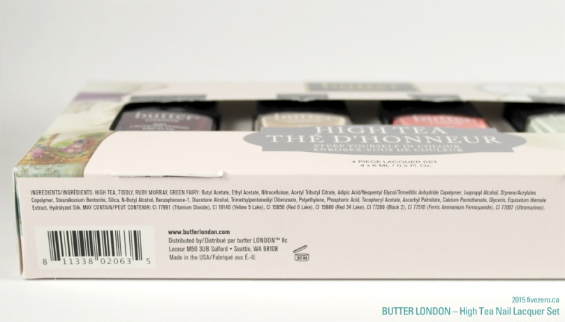 butter LONDON 3 Free Nail Lacquer High Tea Set, ingredients list