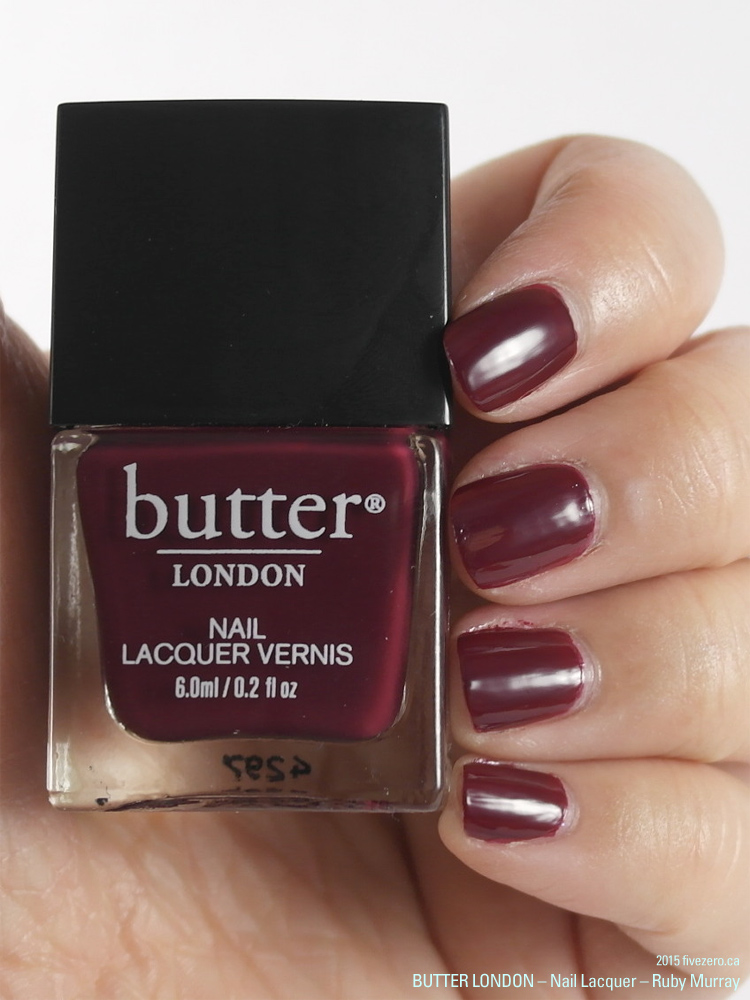 butter LONDON 3 Free Nail Lacquer in Ruby Murray, swatch