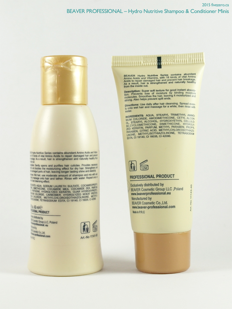 Beaver Professional Hydro Nutritive Shampoo & Conditioner (Birchbox mini), ingredients