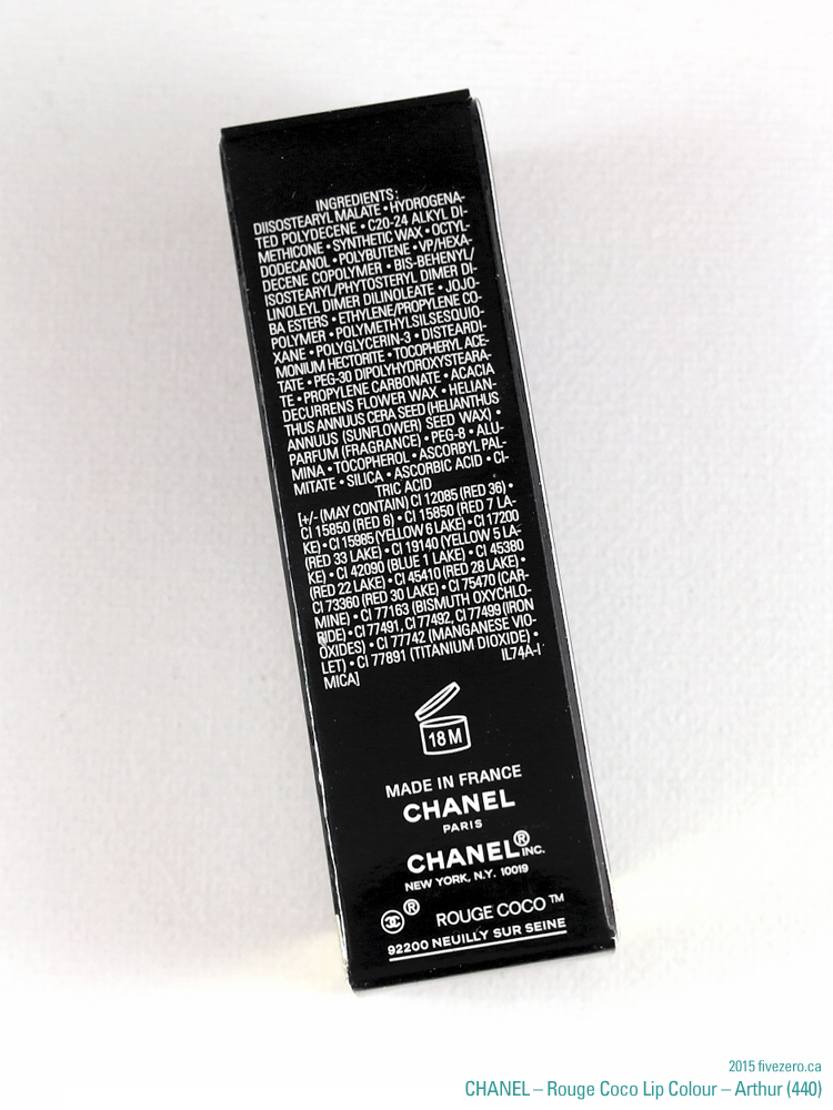 Chanel Rouge Coco Lip Colour in Arthur, ingredients