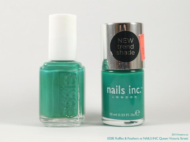 Comparison (Bottles), Green Teal Cream, Essie Ruffles & Feathers vs Nails Inc Queen Victoria Street