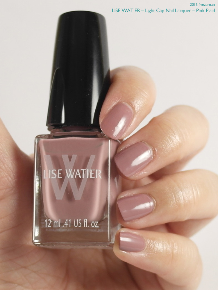 Lise Watier Light Cap Nail Lacquer in Pink Plaid, swatch