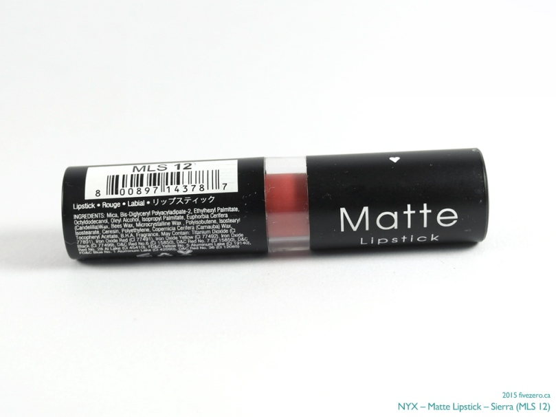 NYX Matte Lipstick in Sierra, ingredients