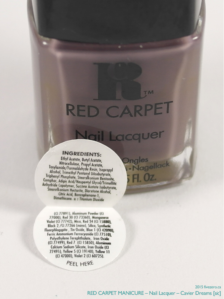 Red Carpet Manicure Nail Lacquer in Cavier Dreams [sic], ingredients