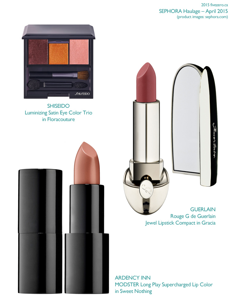 Sephora VIB Haulage April 2015, Shiseido Eye Color Trio Floracouture, Guerlain Rouge G Lipstick Gracia, Ardency Inn Modster Lip Color Sweet Nothing