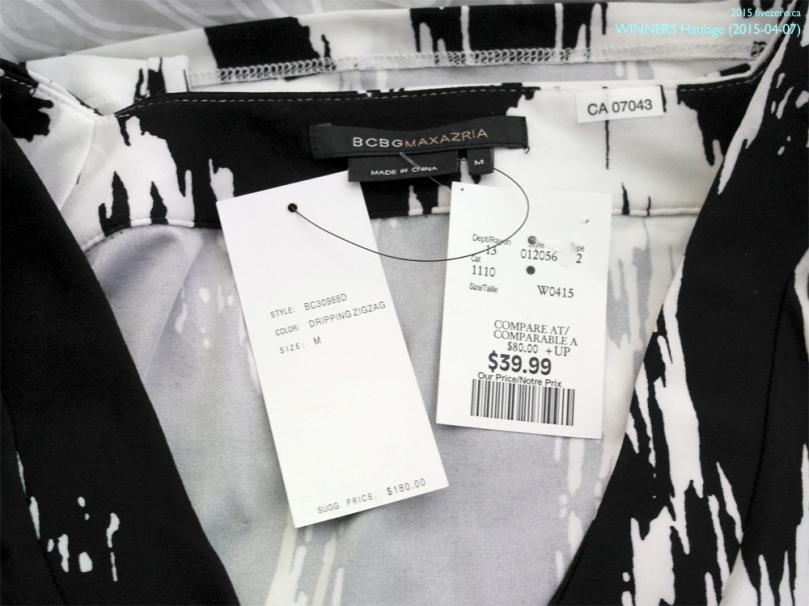fivezero's Winners haulage, 2015-04-07, BCBG Max Azria zigzag ikat print black and white dress