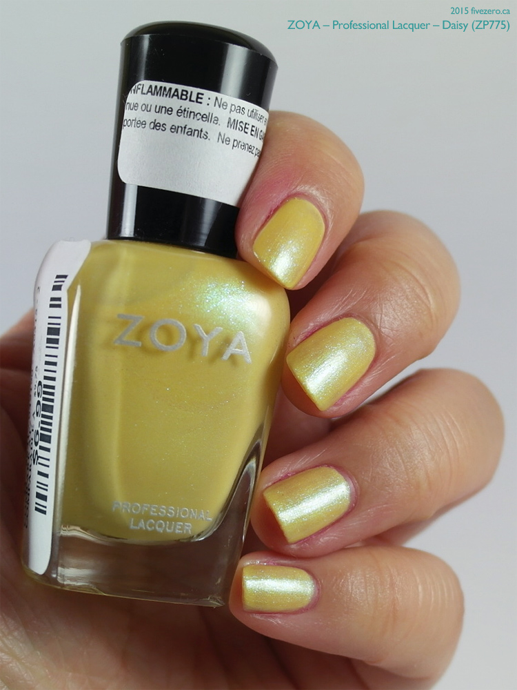 Zoya Professional Lacquer in Daisy, swatch with iridescence