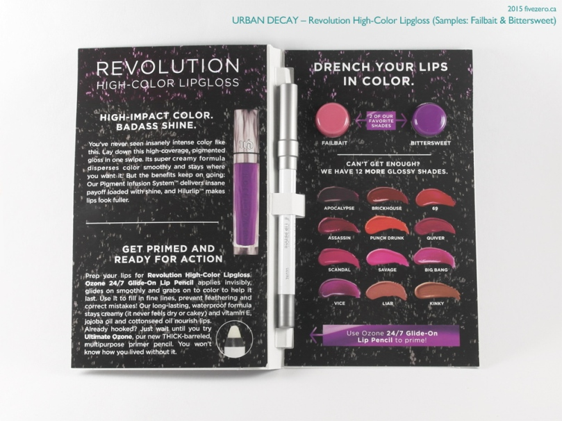 Urban Decay Revolution High-Color Lipgloss Samples