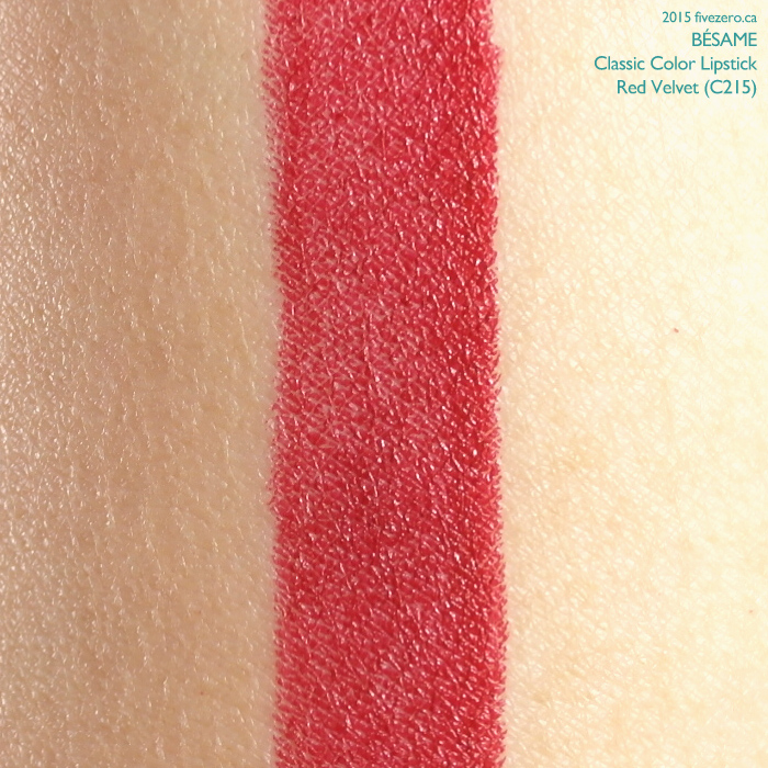 Bésame Classic Color Lipstick in Red Velvet, swatch