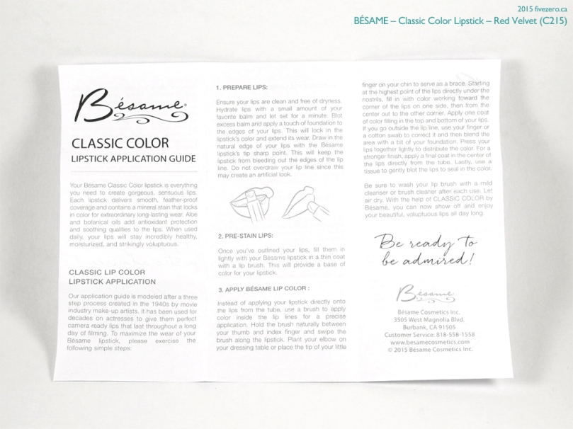 Bésame Classic Color Lipstick in Red Velvet, instructions