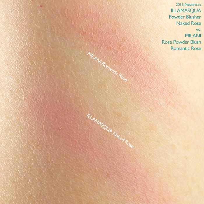 Blush Comparison: Illamasqua Naked Rose vs. Milani Romantic Rose, swatch