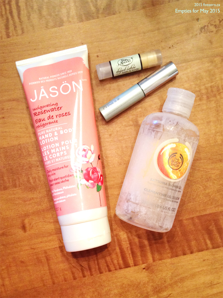 Empties for May 2015 (Jason Naturals, Pure Anada, The Body Shop, Clinique)