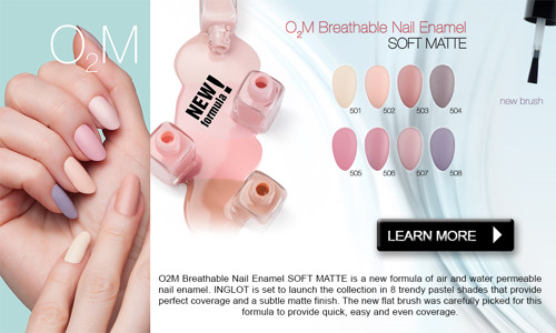 Inglot O2M Breathable Nail Enamel, Soft Matte Collection (New Release)