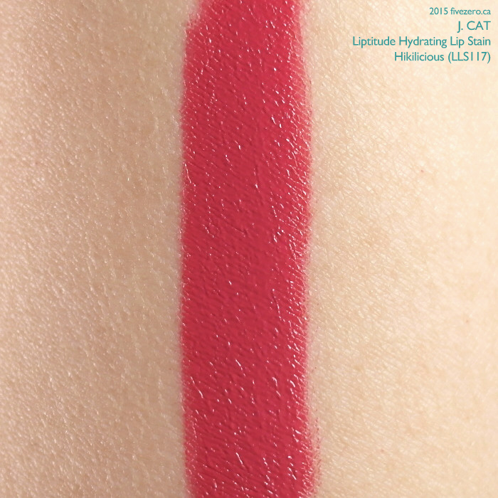 J. Cat Liptitude Hydrating Lip Stain in Hikilicious, swatch