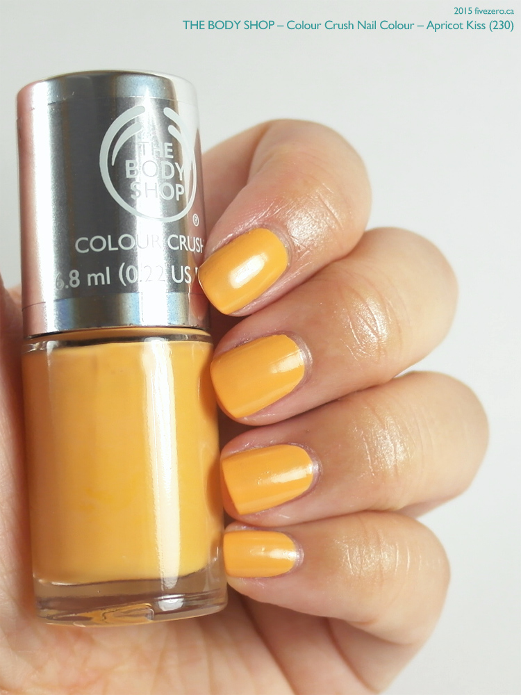 The Body Shop Colour Crush Nail Colour in Apricot Kiss, swatch