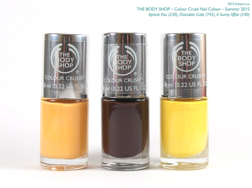 The Body Shop Colour Crush Nail Colour, Summer 2015, Apricot Kiss, Chocolate Cutie, A Sunny Affair