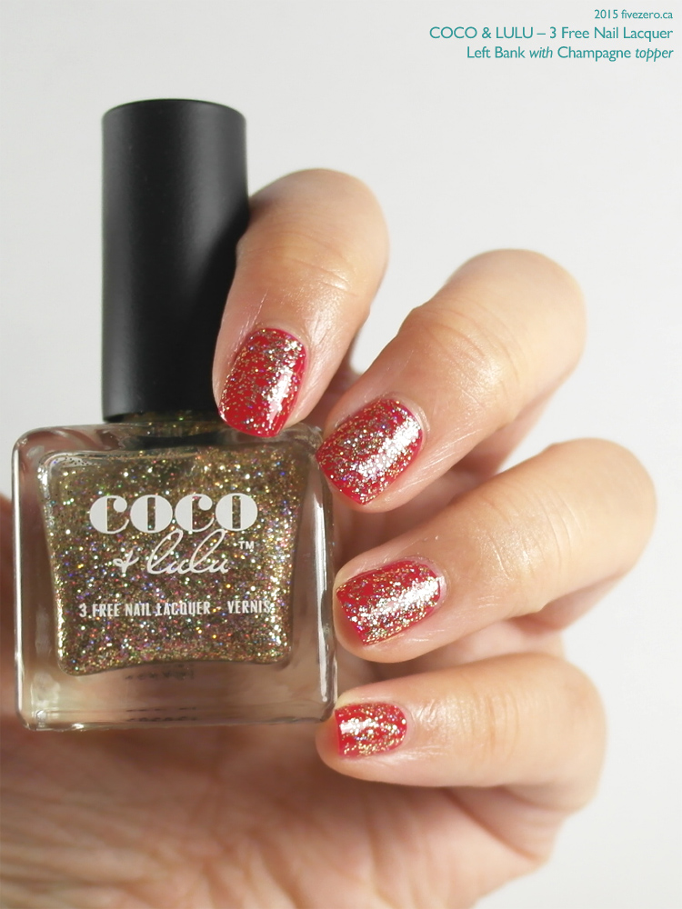 Coco & Lulu 3 Free Nail Lacquer in Left Bank, topped with Champagne, swatch