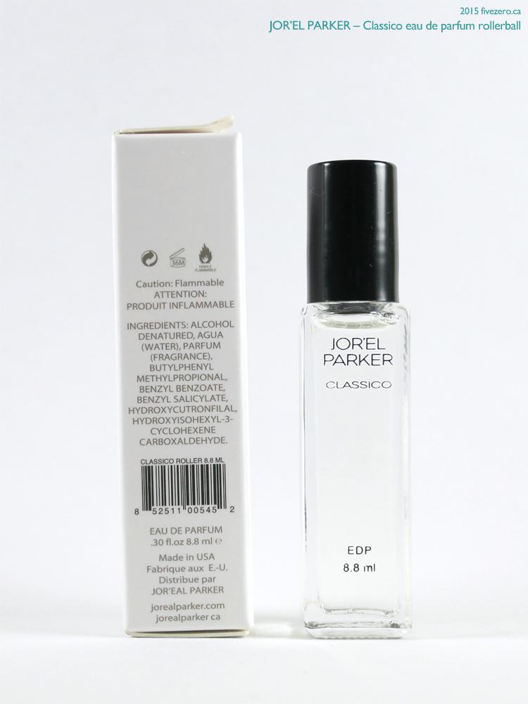 Jor'el Parker Classico eau de parfum rollerball, label