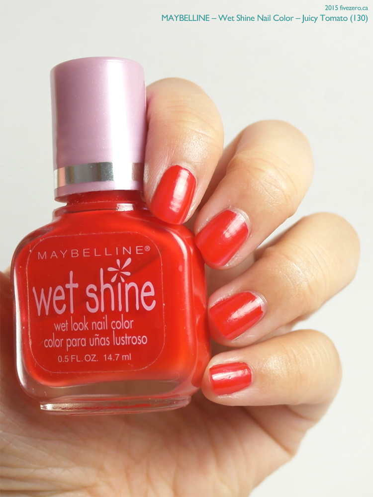 Maybelline Wet Shine Nail Color in Juicy Tomato, swatch