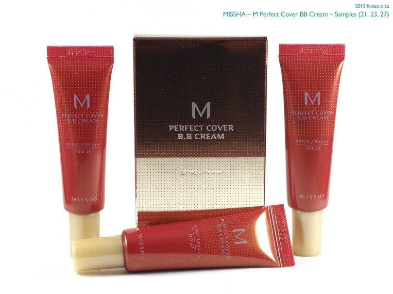 Missha M Perfect Cover BB Cream samples 21, 23, 27