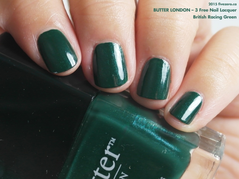 butter LONDON 3 Free Nail Lacquer in British Racing Green, swatch