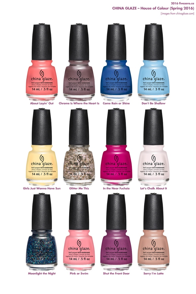China Glaze, House of Colour collection, Spring 2016, bottles