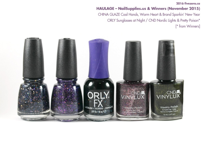Haulage: CHINA GLAZE Coal Hands, Warm Heart & Brand Sparkin' New Year / ORLY Sunglasses at Night / CND Nordic Lights & Pretty Poison