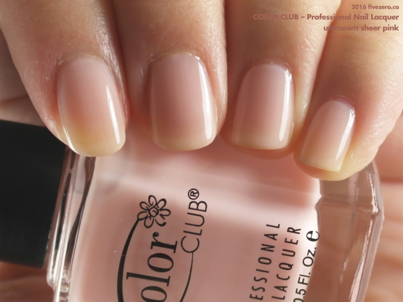 Color Club Professional Nail Lacquer in a mystery sheer pink cream, swatch