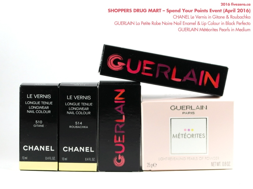 Shoppers Drug Mart Spend Your Points Event, April 2016, Optimum Redemption Haulage, Chanel nail polish Gitane Roubachka, Guerlain La Petite Robe Noire Lip Colour Nail Enamel Black Perfecto, Meteorites Medium