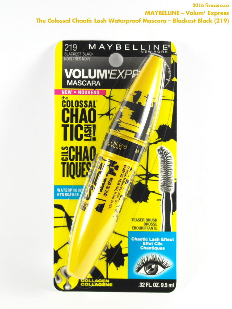 937aa796132 Maybelline — Volum'Express The Colossal Chaotic Lash! Waterproof Mascara in  Blackest Black Review – fivezero