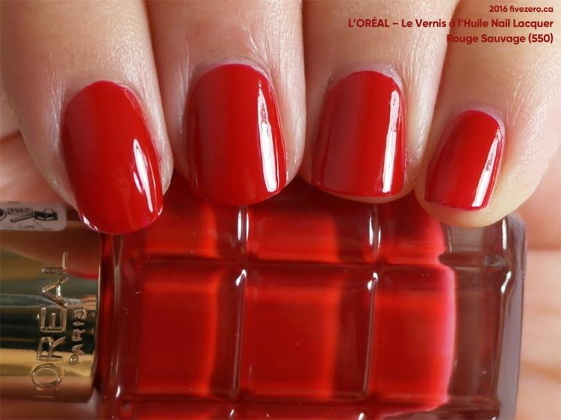 L'Oréal Le Vernis à l'Huile Nail Lacquer in Rouge Sauvage, swatch