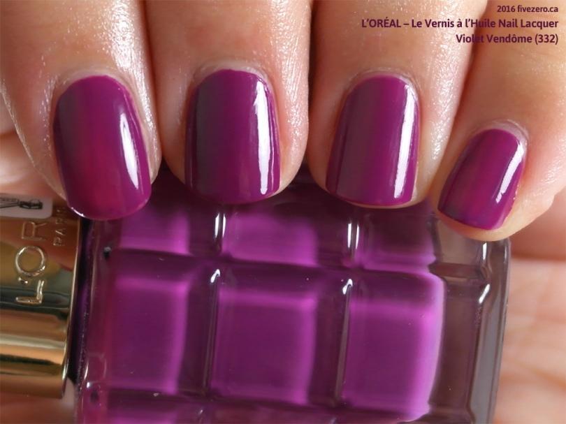 L'Oréal Le Vernis à l'Huile Nail Lacquer in Violet Vendôme, swatch