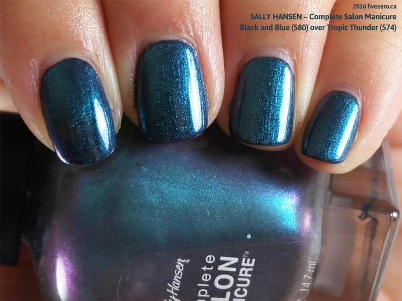 Sally Hansen Complete Salon Manicure in Black and Blue layered over Tropic Thunder, swatch