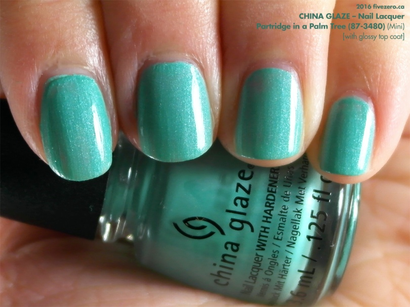 China Glaze Nail Lacquer in Partridge in a Palm Tree with top coat, swatch