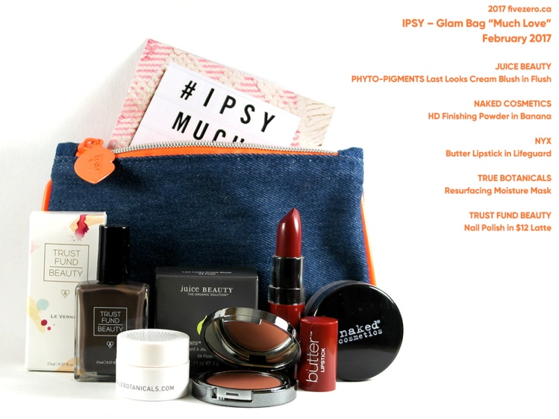 "fivezero's IPSY Glam Bag ""Much Love"" February 2017"