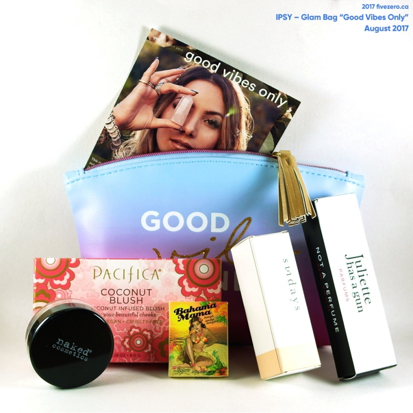 fivezero's Ipsy Glam Bag, August 2017, Good Vibes Only