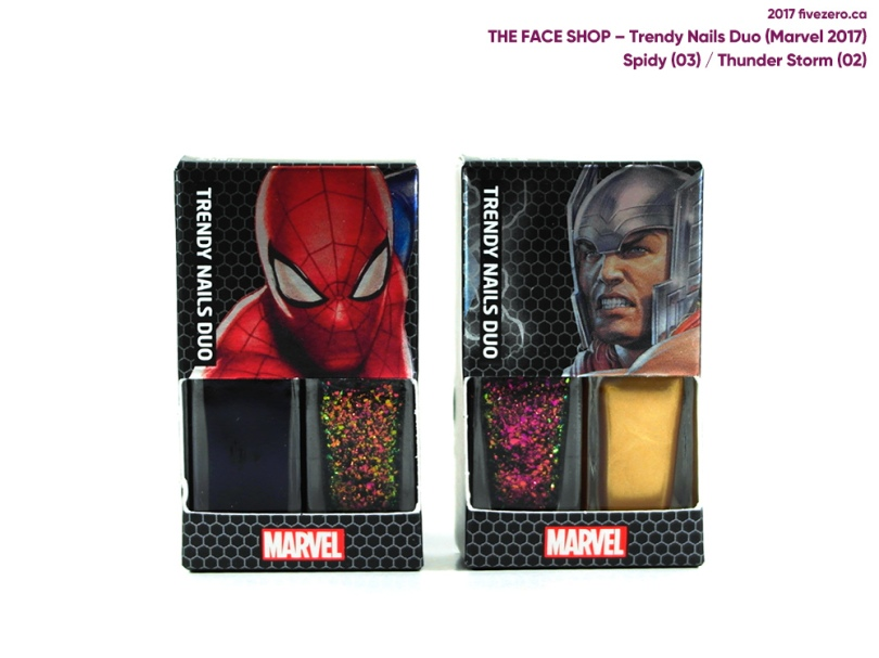 The Face Shop Trendy Nails Duo Marvel 2017 Collection, Spidy & Thunder Storm (Spider-Man & Thor)