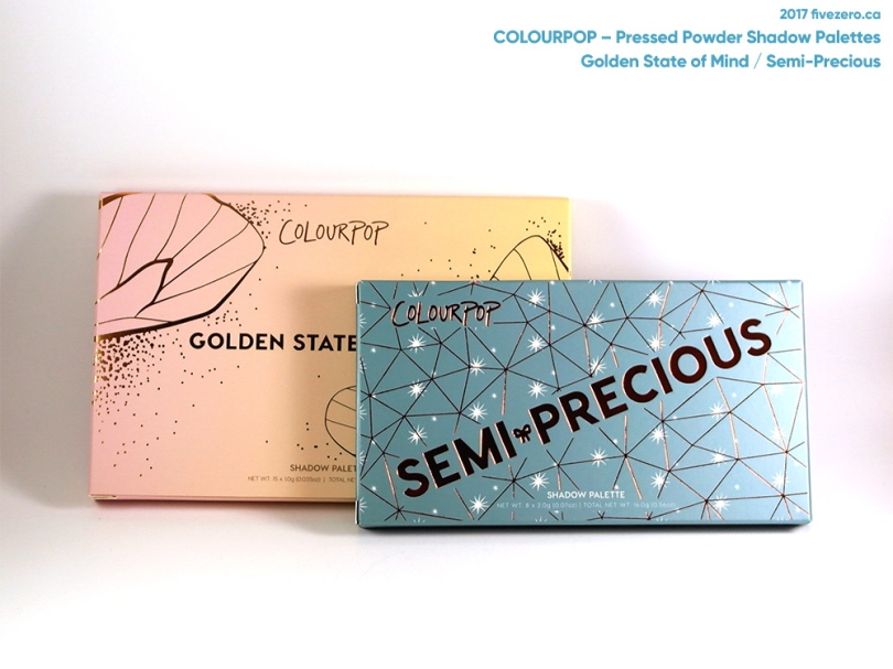 ColourPop Pressed Powder Shadow Palettes in Golden State of Mind & Semi-Precious, from Sephora Canada (November 2017)